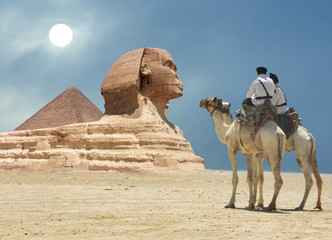 Printed roller blinds Egypt Symbol Egypt's - pyramid, Sphinx, camel, sand and sun