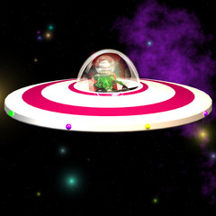 Outerspace and Alien - Image contains a Clipping Path