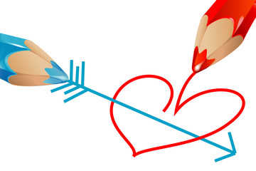 red and blue pencils drawing heart