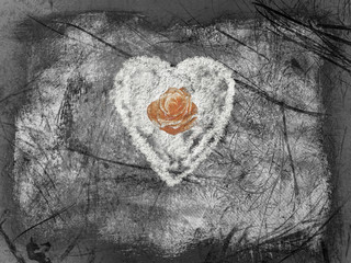 Background with rose and heart.Black and white.