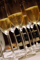 Champagne in stem glasses close up