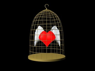 Heart in cage red wings
