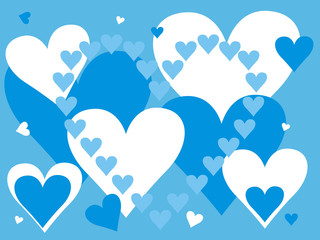 Blue and white hearts on background