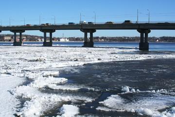 Spring.  Drifting Ice on river Volga.