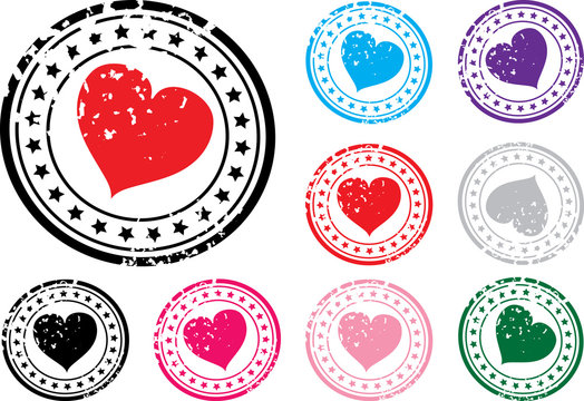 Stamp with the image of heart. A vector illustration.