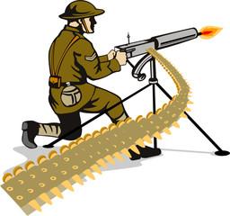 Keuken foto achterwand Militair Soldier firing a machine gun