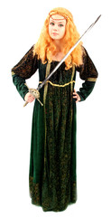 knight of the dark ages in Elizabethan green gown