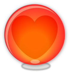 Red glass ball with heart