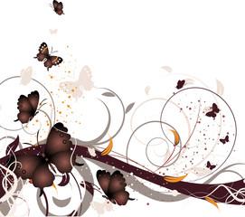 Photo sur Plexiglas Papillons dans Grunge Floral background with butterflies