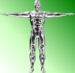 Silberne Body-Building Statue