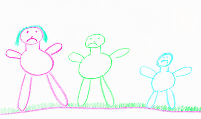 child drawing of an uphappy family in stick people