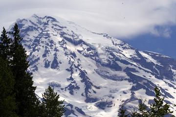 Eagles flying up near summit of Mount Rainier