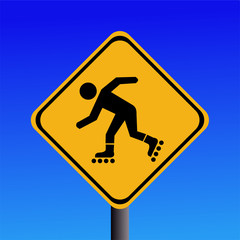 rollerbladers ahead sign