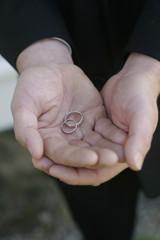 Wedding rings in hands