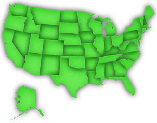 Carte Etats-Unis 3D Vert