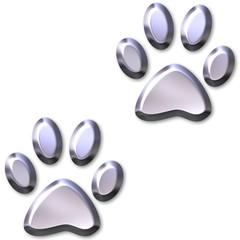 3D Silver Animal Foot Prints