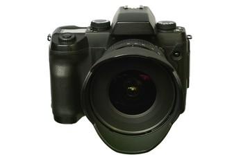 Digital single-lens reflex camera with wide lens.