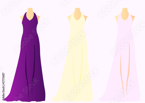 Three wedding dresses on mannequins in purple cream and for Cream and purple wedding dresses