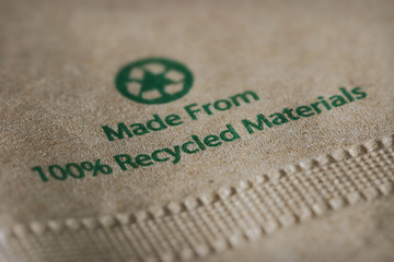 """""""Made From 100% Recycled Materials"""" Focus on """"recycled.""""."""