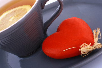 Cup of tea and red heart