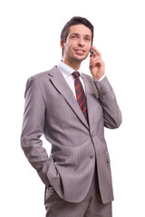 handsome businessman on mobile phone
