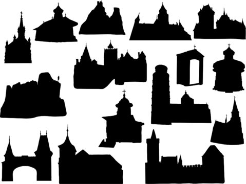 Silhouette of historic buildings
