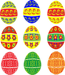 hand painted easter eggs in several designs