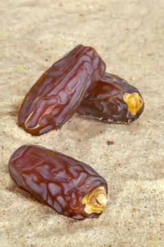 Date fruits on desert sand