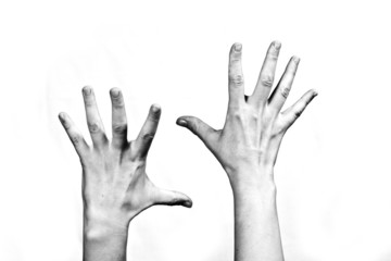 emotion series: hands up, black and white