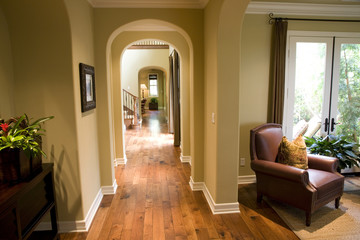 Hardwood floor hallway.