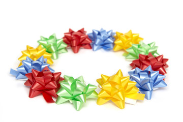 Plenty of colorful bows on a white background