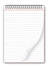 blocco notes con pagina piegata
