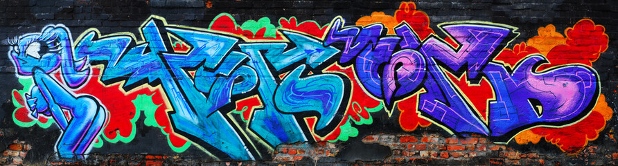 Amazing colorful urban graffiti