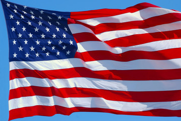 The American flag is waving in the wind.