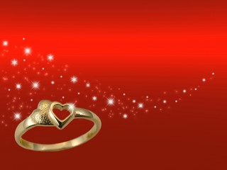 Valentines card  with golden ring