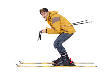 Skieur debutant en pleine vitesse