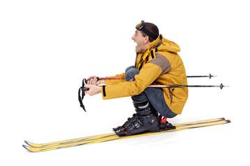 Skieur fou en danger dans la pente