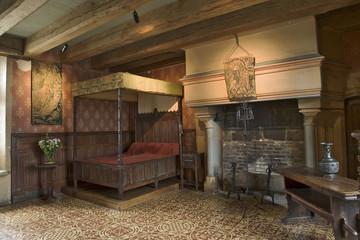 intérieur du chateau de langeais, touraine, france