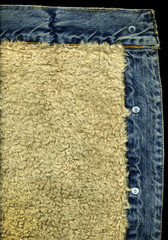 Denim Jacket Pocket Detail with Sheep Skin Texture