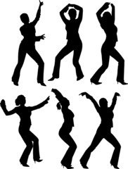 Silhouettes of some girls dancing