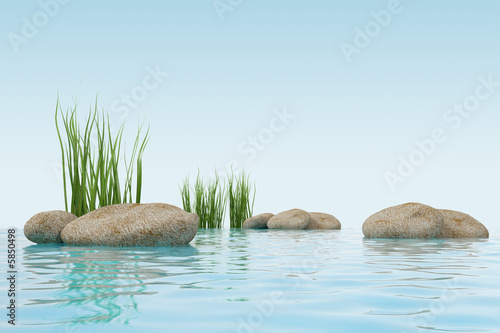 3d model water, grass and stone  made in 3ds max