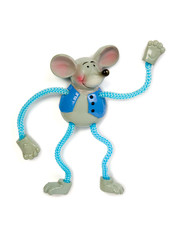 Toy dancing mouse, isolated on white background