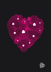 decorative pattern from pink hearts on the valentine's day