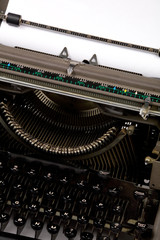 Typewriter and paper close up shot