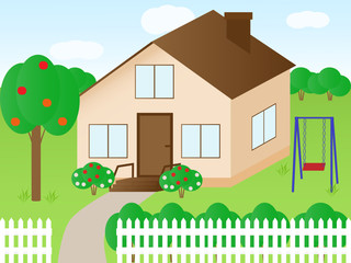 Vector illustration of a house with a garden
