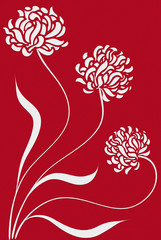 Three fllowers on a dark red background - graphic illustration