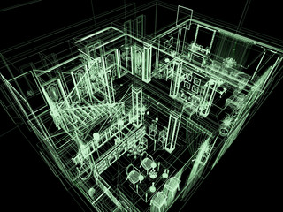 Computer graphic. X-ray of big house. 3D render.