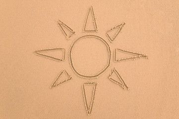 Drawing of the sun done in sand.