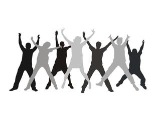 Seven friends swing hands in a jump vector