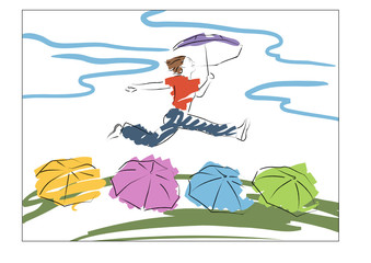 young woman jumps with the umbrella above the umbrellas vector